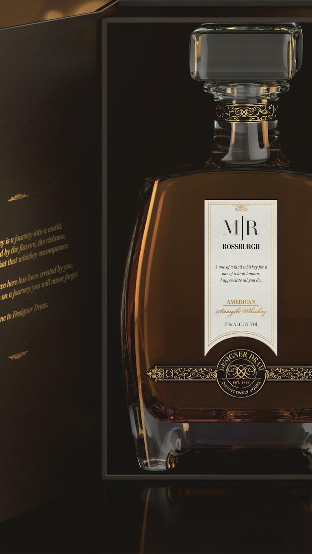 Labeled bottle of whiskey